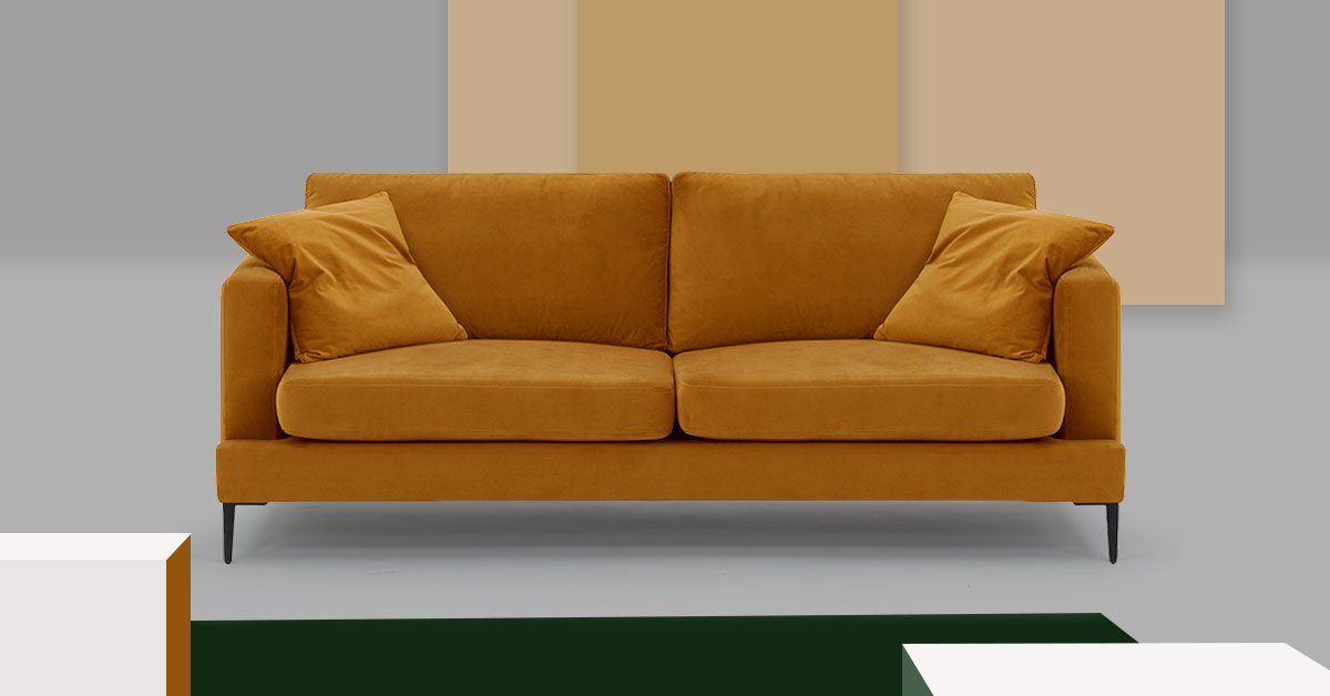 Yellow sofa in your living room. Three ideas for living room in autumn style