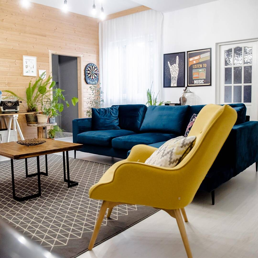 Yellow Chair Ducon and Dark Blue Corner Sofa Gosena