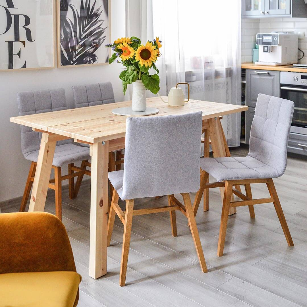 Grey upholstered dining chairs Fafa