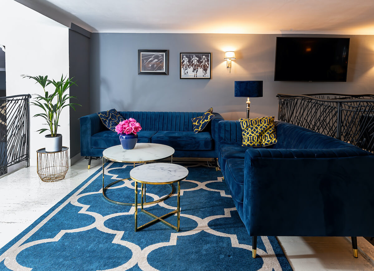 Velour Navy Blue Sofas Slender