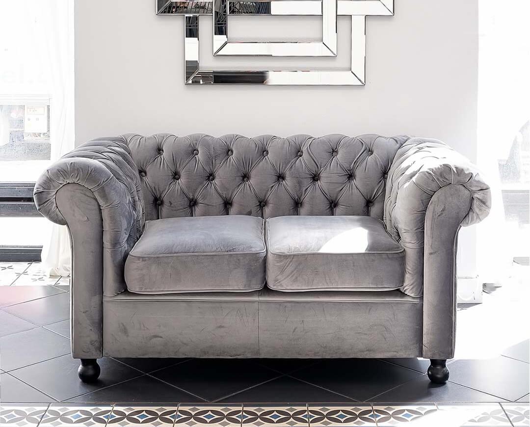 Small Grey Fabric Sofa Chesterfield