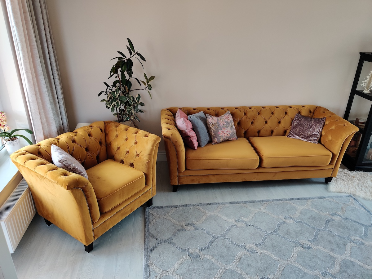 Yellow Quilted Sofa & Armchair Karin